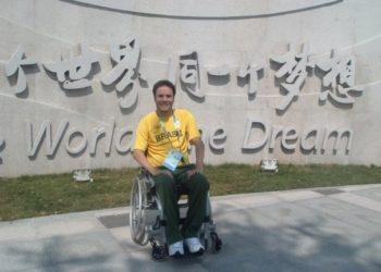 Em Pequim, quando integrou a equipe brasileira de natação  Foto: Arquivo Pessoal