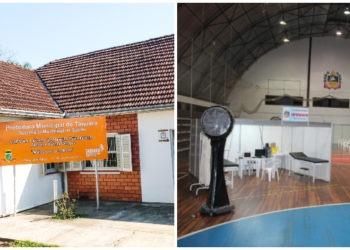 Centros de triagem (Taquara a esquerda da foto e Igrejinha a direita) instalados e prontos para receber pacientes Fotos: Magda Rabie/Lilian Moraes