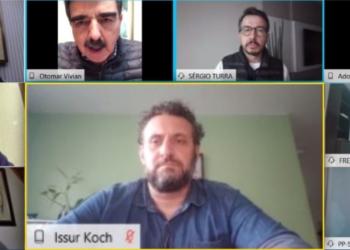 Deputado Issur Koch, do PP, em vídeoconferência com o Estado