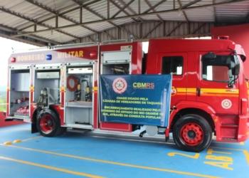 Consulta Popular de 2018 garantiu encarroçamento de caminhão para Corpo de Bombeiros Militar de Taquara, entregue recentemente. Foto: Lilian Moraes