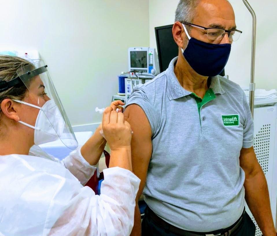 Vacinação realizada nesta sexta-feira. Foto: Divulgação/SMS Taquara
