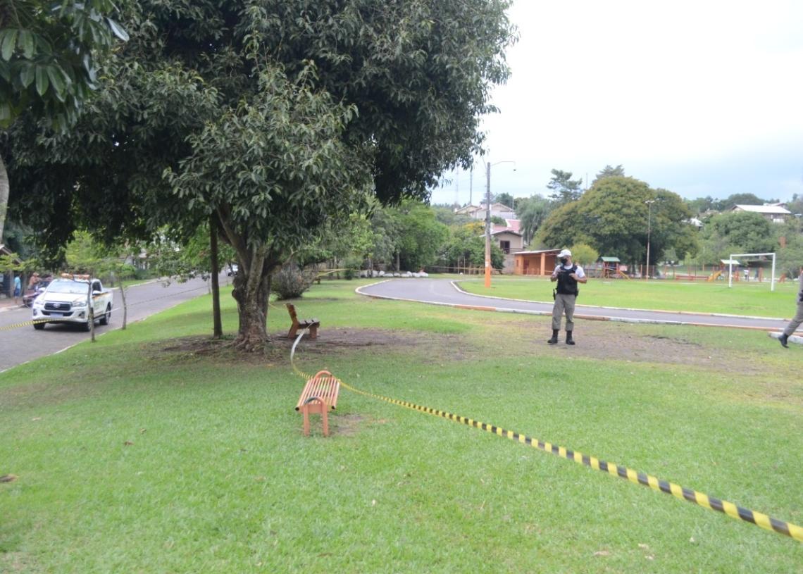 Parque do Trabalhador foi cercado na tarde desta terça pela Defesa Civil Municipal. Foto: William Coelho/Prefeitura de Taquara