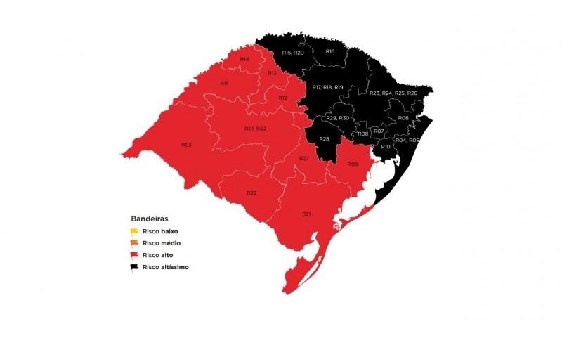 Mapa preliminar do distanciamento controlado Foto: Reprodução/Governo do Estado
