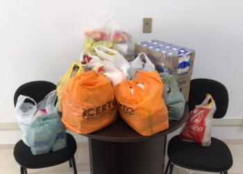 Doações de alimentos das equipes Bilhar e UTFF. Foto: Departamento de Esportes