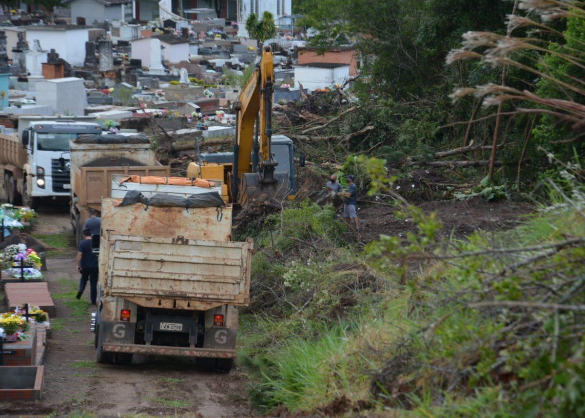 No início da semana, máquinas trabalharam na terraplanagem do local. Foto: William Coelho/Prefeitura de Taquara