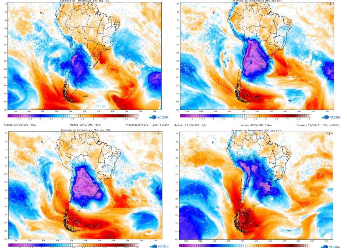 Mapas de anomalia de temperatura em 850 hPa (1.500 metros) mostram a abrangência da massa de ar polar, a sua forte intensidade e progressão pela América do Sul
